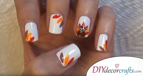 Turkey - Thanksgiving Nail Art