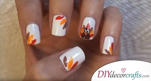 Turkey - Thanksgiving Nail Art
