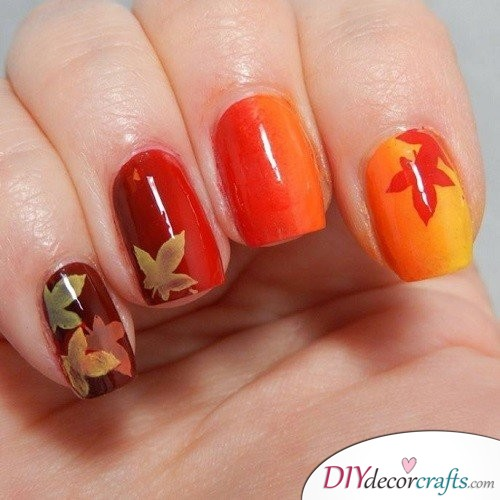 Fall Gradient - Thanksgiving Nail Art