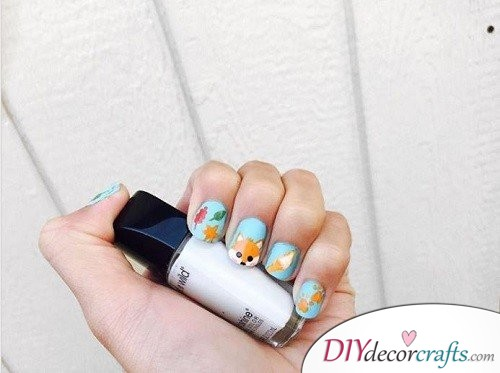 Fall Fox - Thanksgiving Nail Art