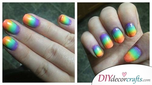 Neon Rainbows - Ombre Nail Art