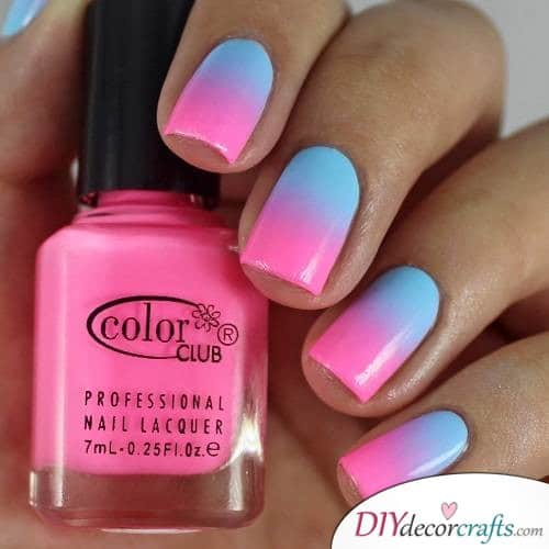 Pink and Blue Polish - Ombre Nail Art