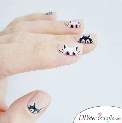 Black Cats - Halloween Nail Art For Beginners