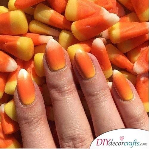 Candy Corn - Halloween Nail Art For Beginners