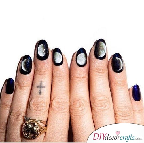 Moon Phase - Halloween Nail Art For Beginners