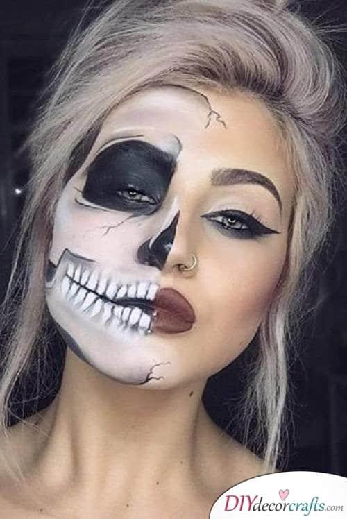 Half-Skull - Halloween Makeup Ideas