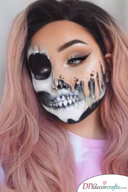 Half-Skull- Halloween Makeup Ideas