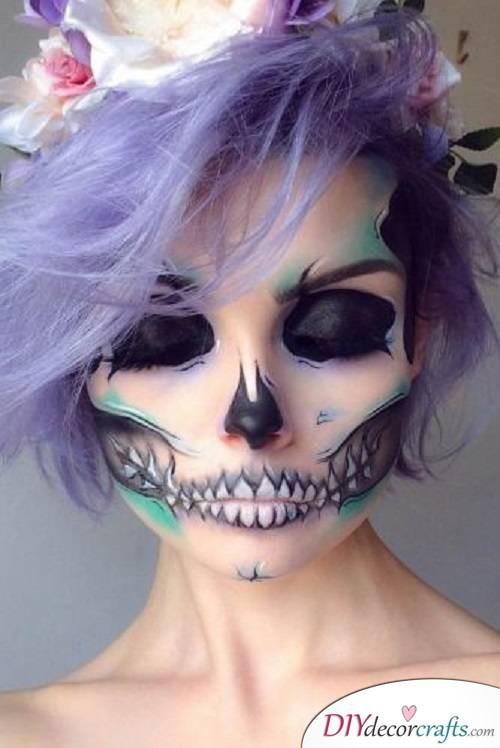 Highlighted Sugar Skull - Halloween Makeup Ideas