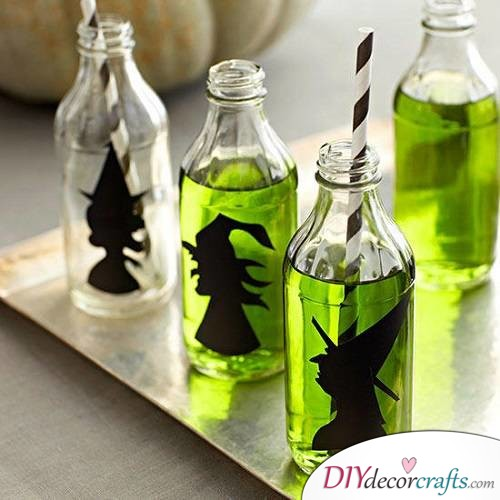 Witchy Drink Bottles - Halloween Décor