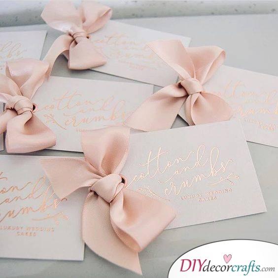 Elegant bows - Cute DIY Wedding Invitation Cards