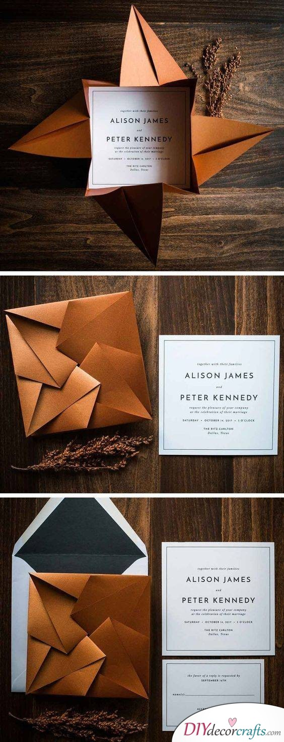 Creative Invitations and Envelopes - Fold Your Own Wedding Invitations!