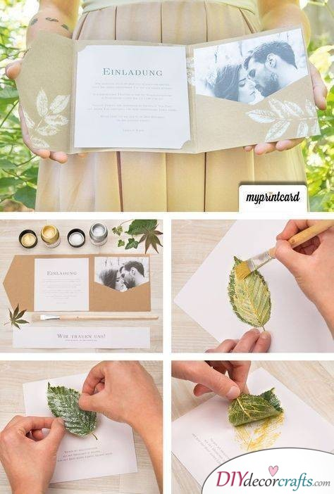 Leafy Patterns - Creative DIY Wedding Invitation Cards