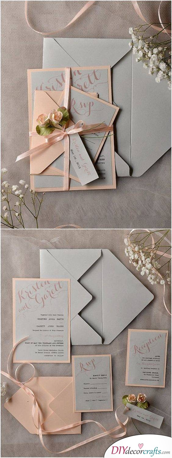An Invitation with a Response Card - Wedding Invitation Kits