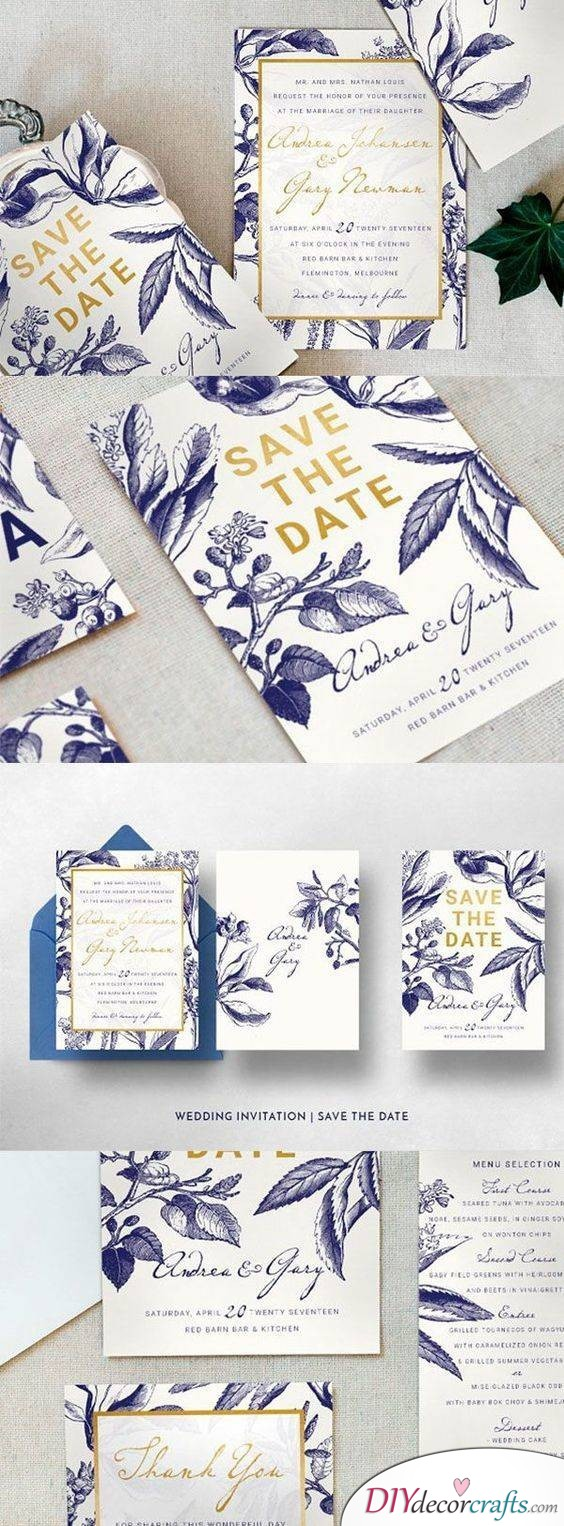 White, Gold and Ocean Blue - A Fantastic Combination for your Wedding Invitation