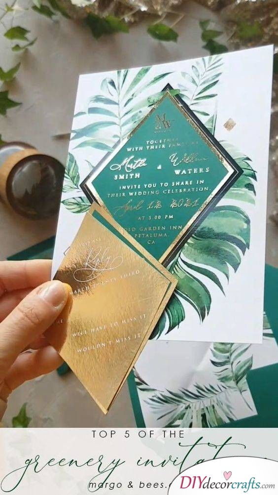 A Combination of Green and Gold - A Bold Wedding Invitation