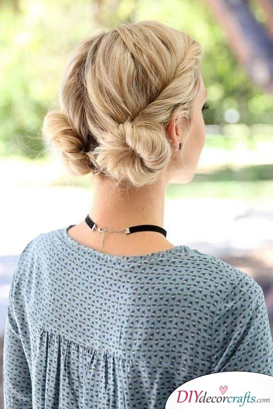 Buns Made out of Shorter Hair - A Bubbly Look