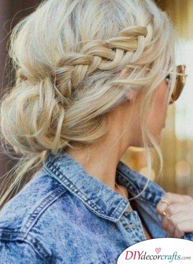 Messy Updo with a Braid - Easy Braids for Long Hair