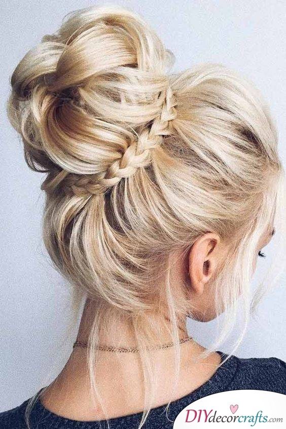 A Messy Ballerina Bun with a Twist - Easy Braids For Long Hair