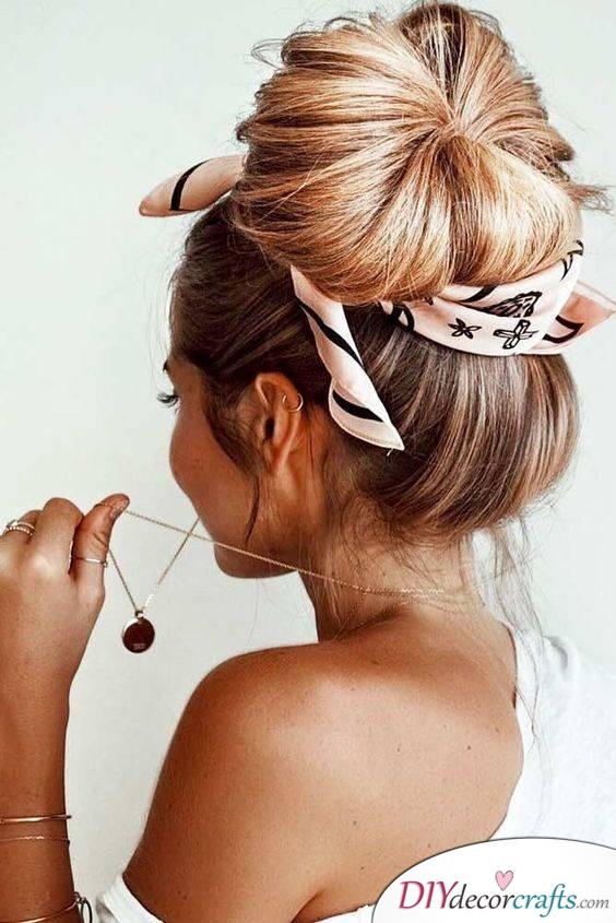 Bun with a Headscarf - A Simple but Cute Hair Trend