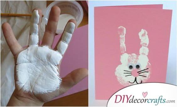 Handprinted Rabbits - Easter Bunny Decorations