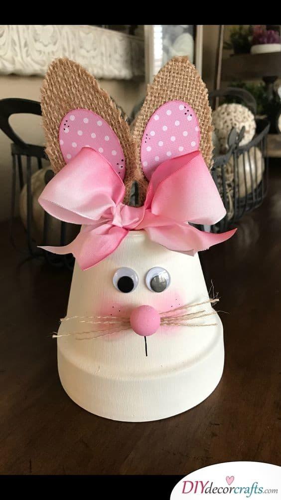 Bunny Flower Pot - Easter Decor