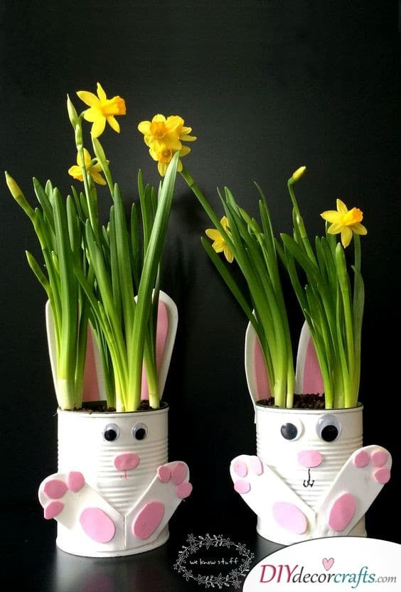 Tin Can Bunny Planters - Easter Bunny Craft Ideas