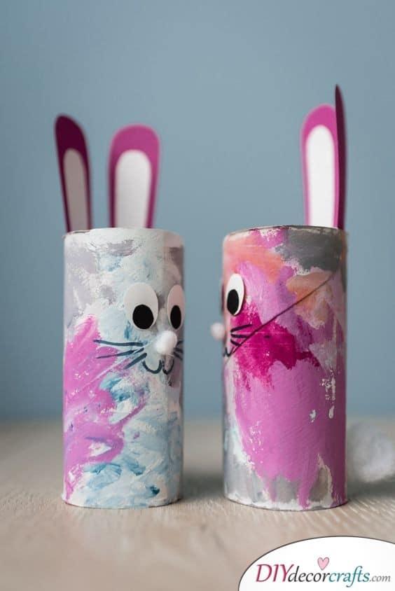 Unique Paper Roll Bunnies - Easter Decor