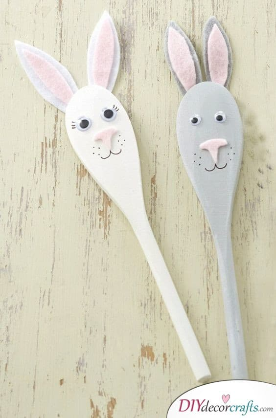 Rabbit Wooden Spoons - Easter Bunny Decorations