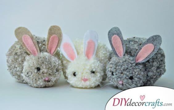Fluffy Pom Pom Bunnies - Easter Decor