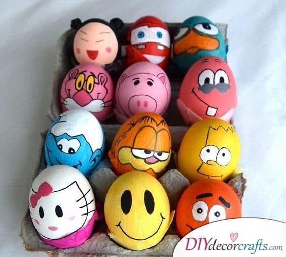 Cartoonish Eggs - Easter Egg Decoration Ideas