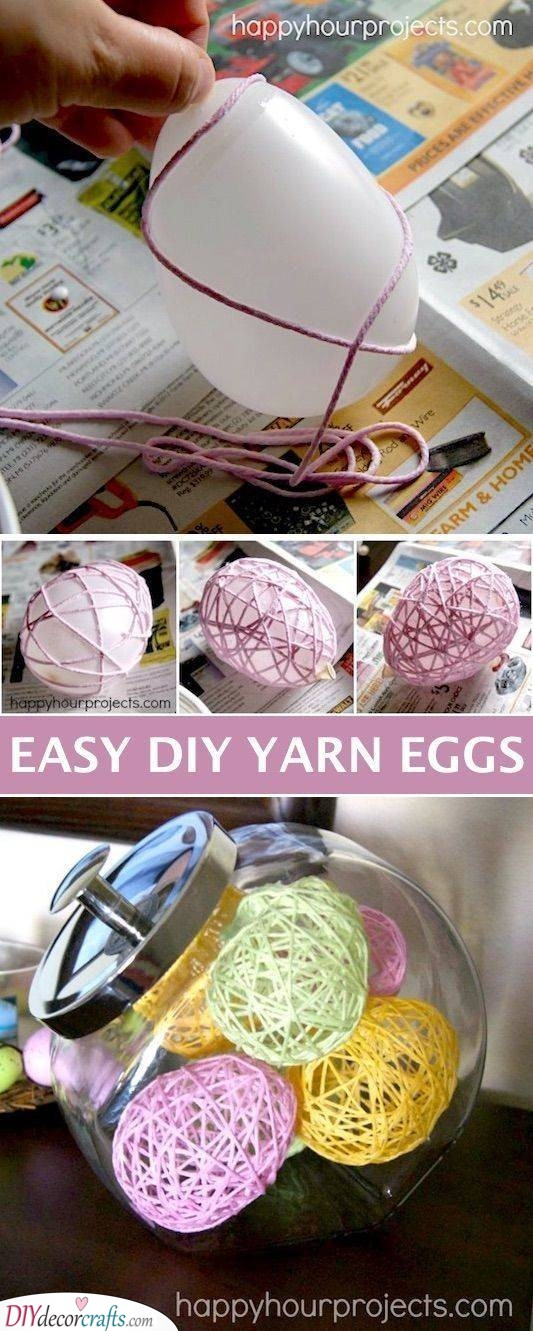 DIY Yarn Eggs - Easter Crafts for Adults