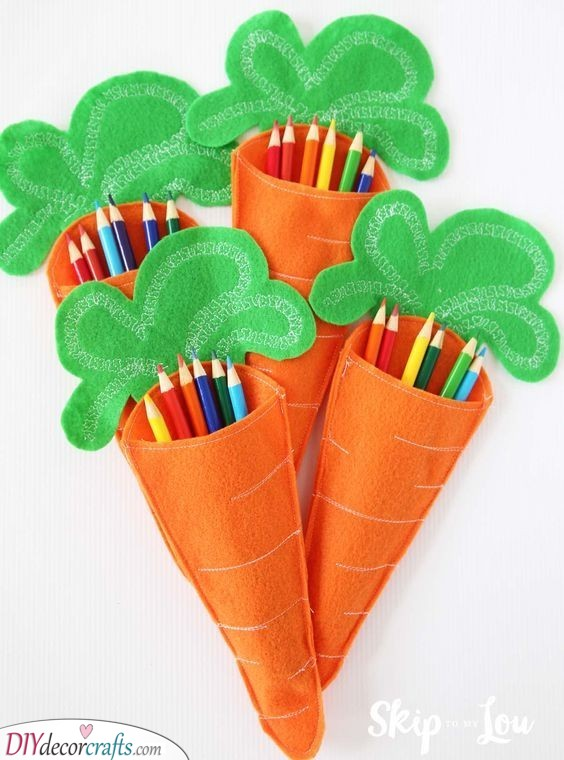 Carrot Pencil Cases - Cute Easter Gift Ideas for Kids
