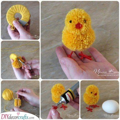 Pom-pom Chickens - Cute Easter Crafts for Kids