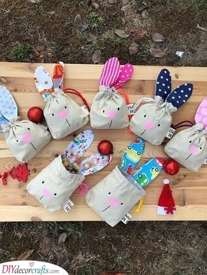 Bunny Drawstring Bags - Filled with Candy