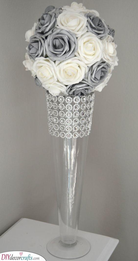 A Vase of Roses - Silver Wedding Ideas