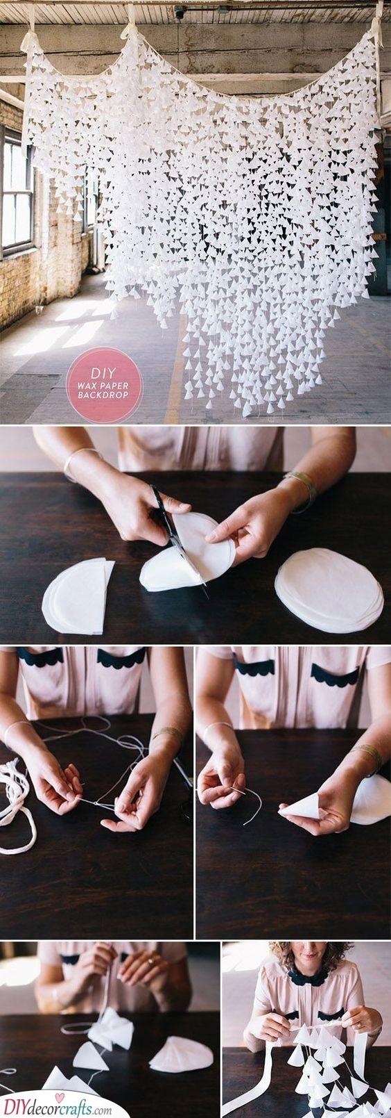 DIY Wax Paper Backdrop - Breathtaking Silver Wedding Decorations