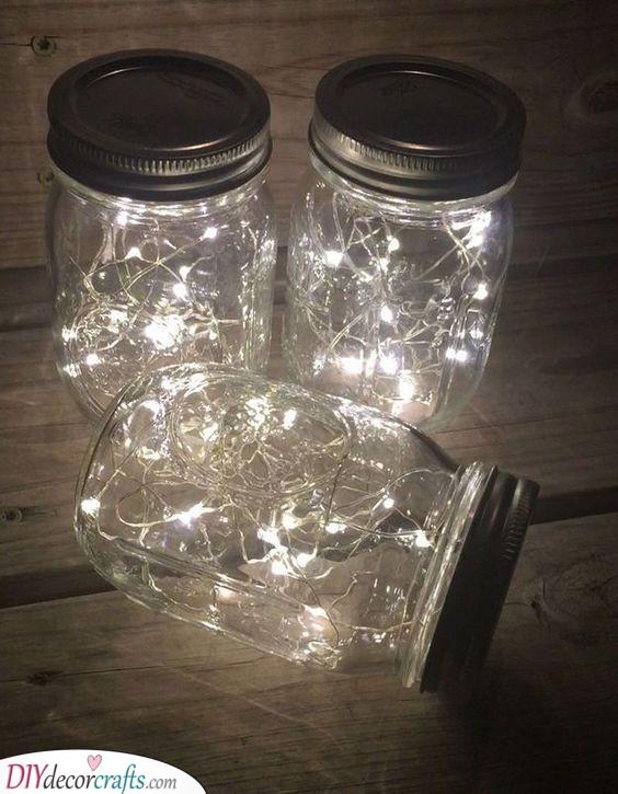 Fairy Lights in Mason Jars - Brilliant Silver Wedding Ideas