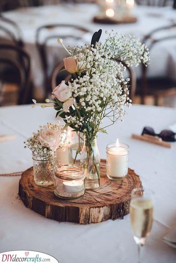 Slice of Wood - Earthy DIY Wedding Centerpieces