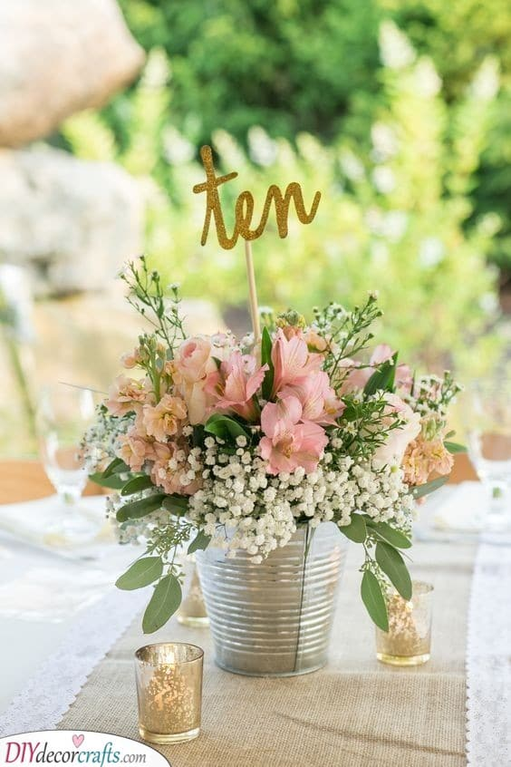 A Bucket of Flowers - Fantastic DIY Table Centerpiece Ideas