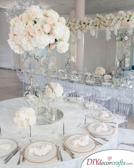 Angelic White and Glass - Simple Wedding Table Decorations