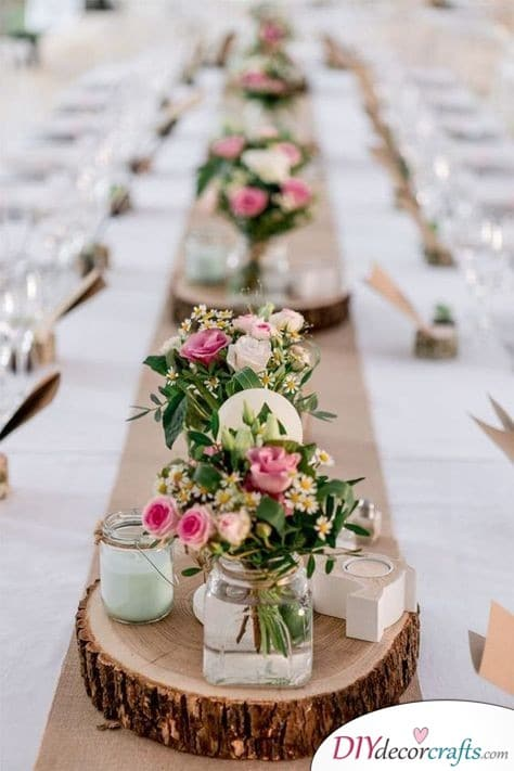 Rustic Simplicity - Wedding Table Flower Decorations