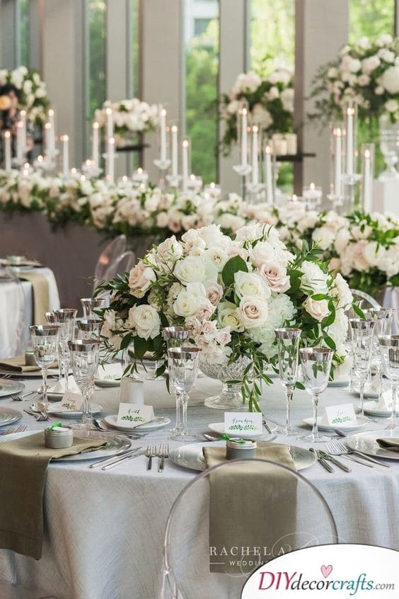 Snowy White Roses - Simple Wedding Table Decorations