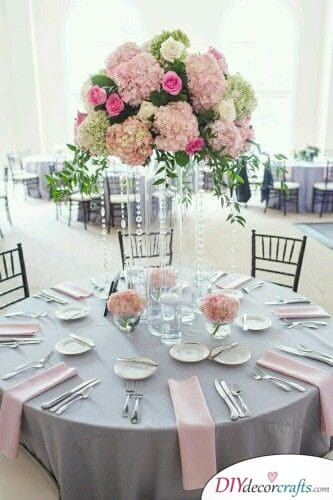 Pink and Grey - Wedding Table Decoration Ideas
