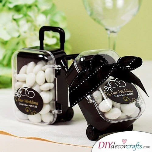 Candies in a Cute Suitcase - Great Wedding Thank You Gifts