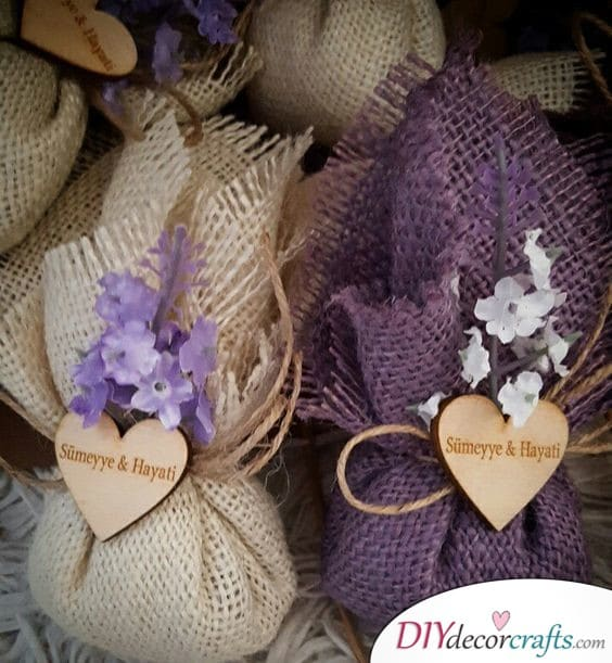 Gifts Wrapped in Small Bags - Handmade Wedding Gifts for Guests