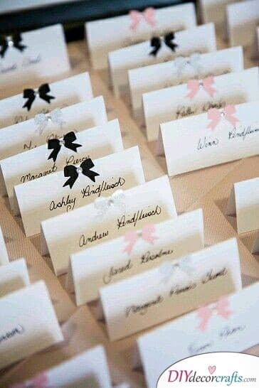 Adorable Bows - Cute Wedding Name Cards