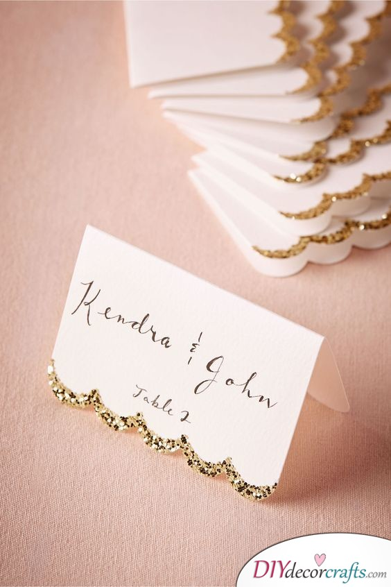 A Wave of Glitter - Stylish Wedding Name Cards