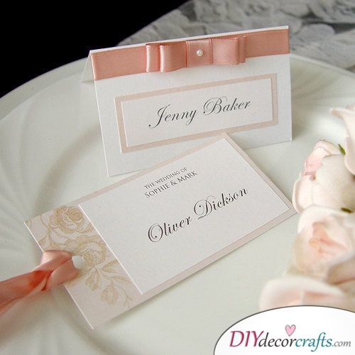 Cute Bows and Ties - Wedding Name Cards