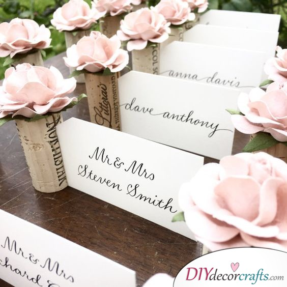 Flowery Place Card Holders - Beautiful Wedding Name Cards
