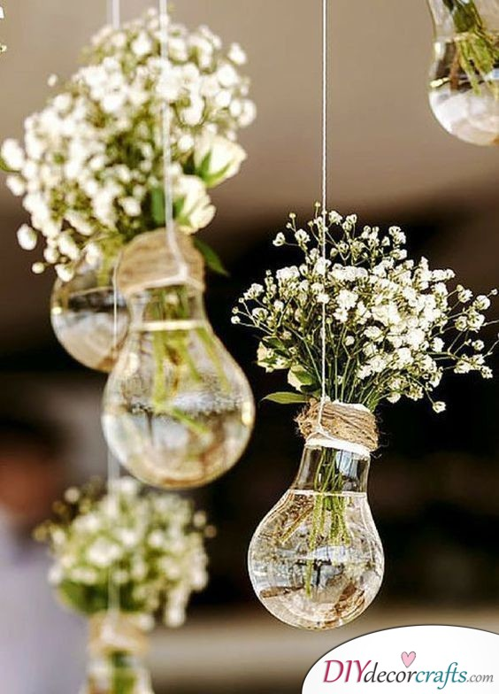 Hanging Lightbulbs - Another Great Tip for Arranging Flowers